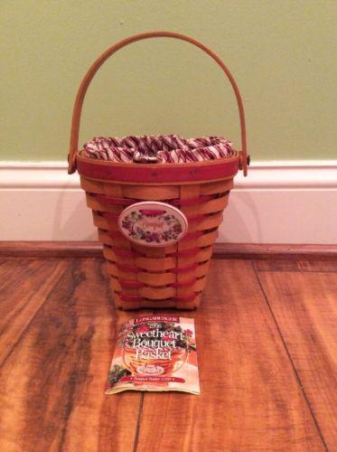 Longaberger 1996 Sweetheart Bouquet Basket Basket #11240 Liner Protector EUC