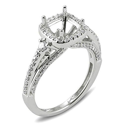 0.55 Carat (ctw) 18K White Gold Round Diamond 3 Stone Semi Mount Bridal Ring (No
