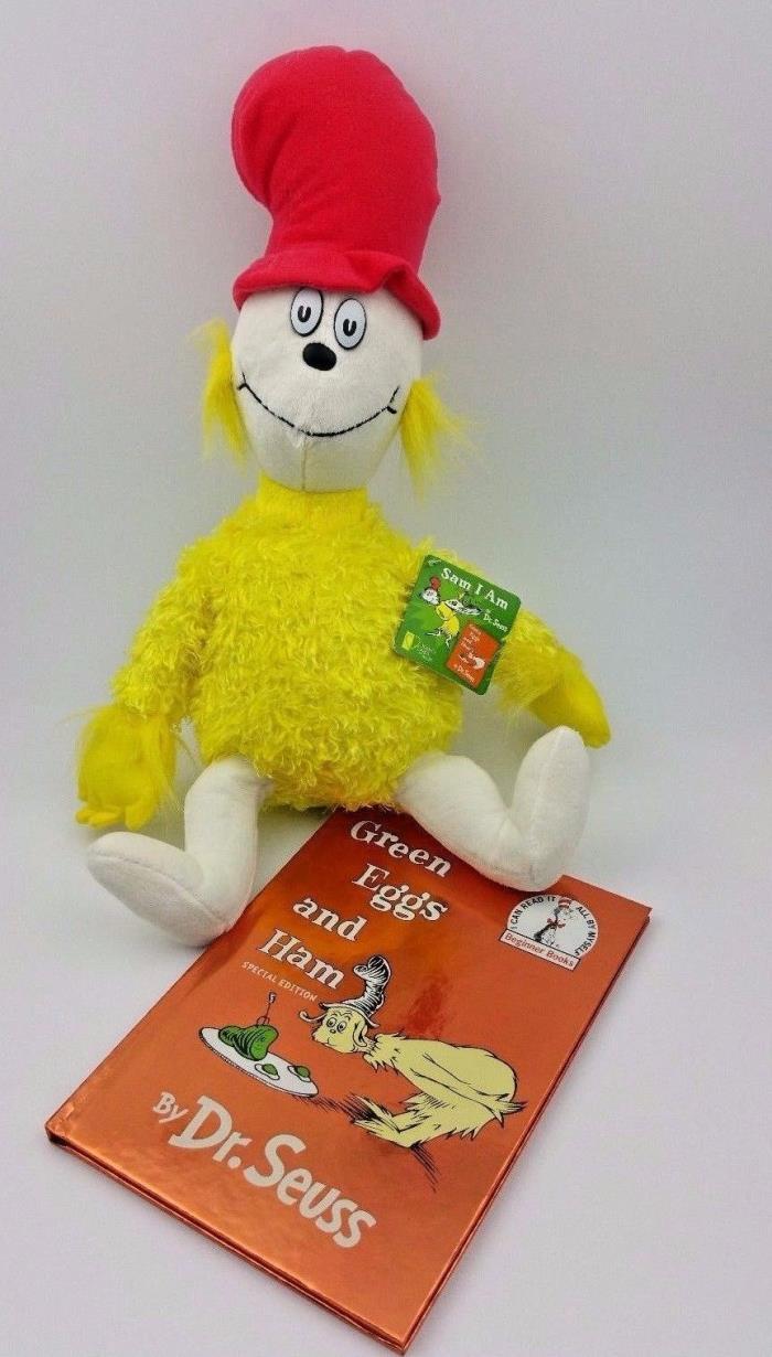 Dr Seuss Green Eggs and Ham Special Edition Book with Sam I Am Plush 15
