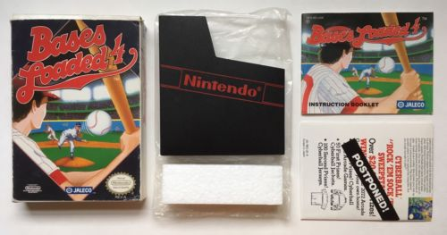 NES Bases Loaded 4 Box + Manual + Poster + Bag + Dust Cover + Styro *No Game*