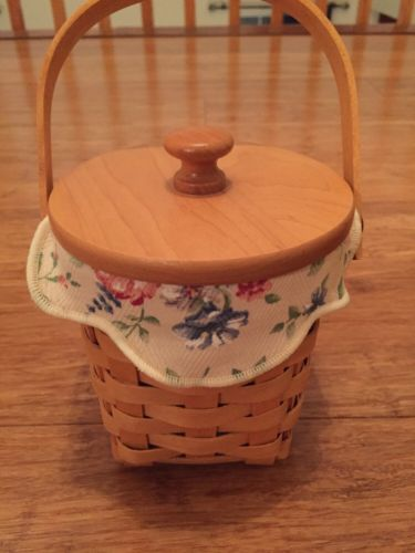 Longaberger 2002 American Cancer Society Basket w/ Lid, Liner, Protector