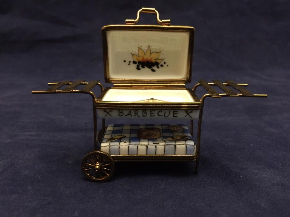 Beautiful Vintage Limoges France Trinket Box Barbecue BBQ Grill Cart