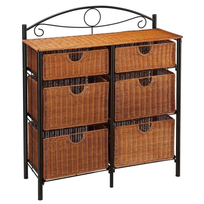 Black Iron Frame 6 Drawer Wicker Storage Chest Unit Free Shipping