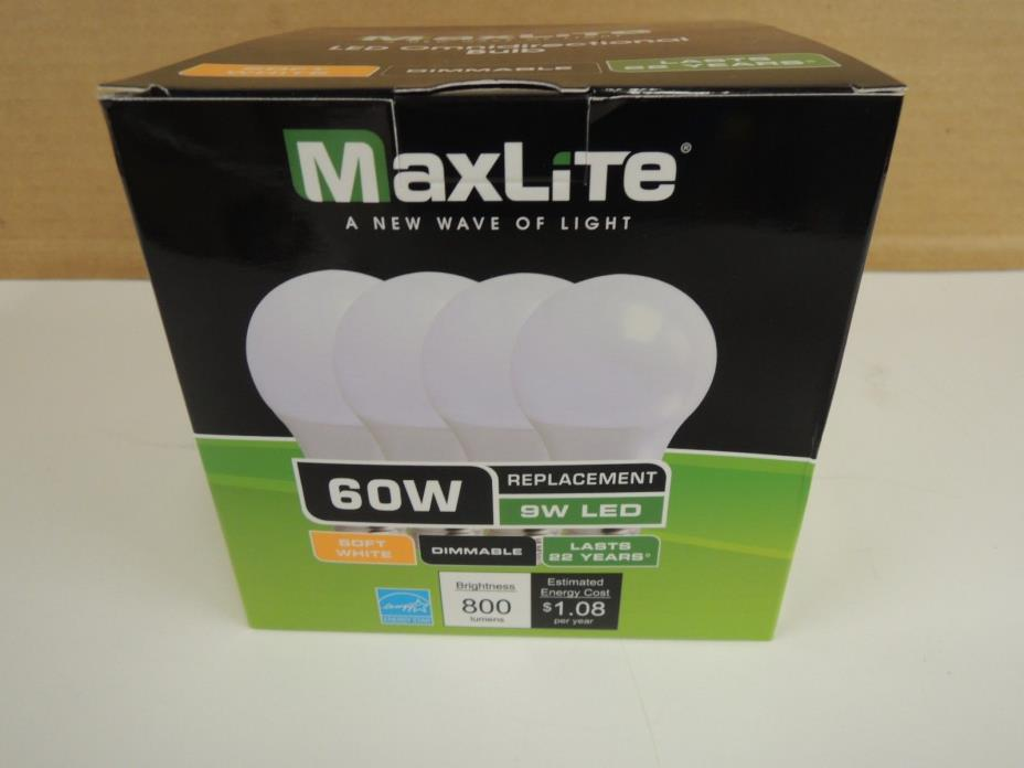 MaxLite 9A19DLED27/G4/4P 9W Led Omni A19 2700K Dimmable LED Light Bulb (4 Pack)