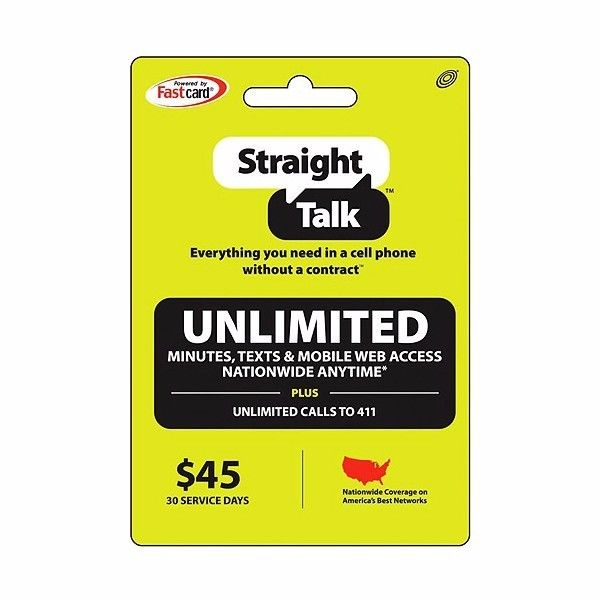 Straight Talk $45 Month Service Refill Card Fast Refill Plan