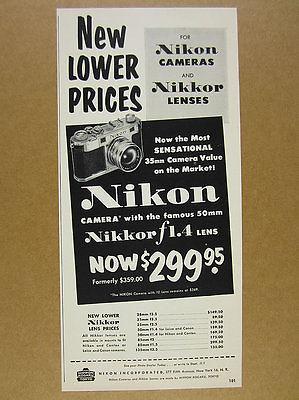 1954 Nikon S Camera rangefinder Nikkor f1.4 Lens vintage print Ad