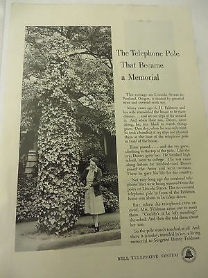 Bell Telephone System Telephone Pole Memorial Ad 1950s