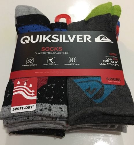 Quiksilver Boy's Crew Socks Shoe Size 10.5-4 Multi-color NEW