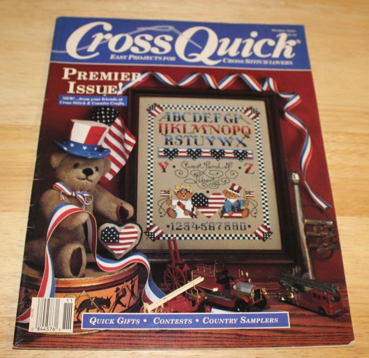 Cross Quick Premier issue Cross stitch magazine 1988 country samplers