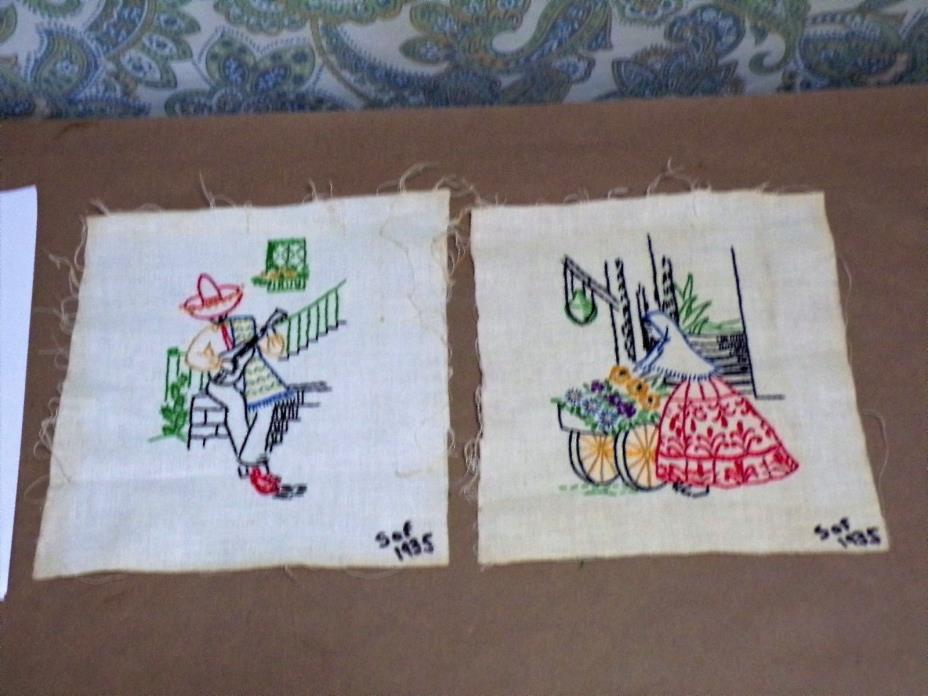 92416-04-C  Dated  1935 cross stitch samplers art work wall decor collectable