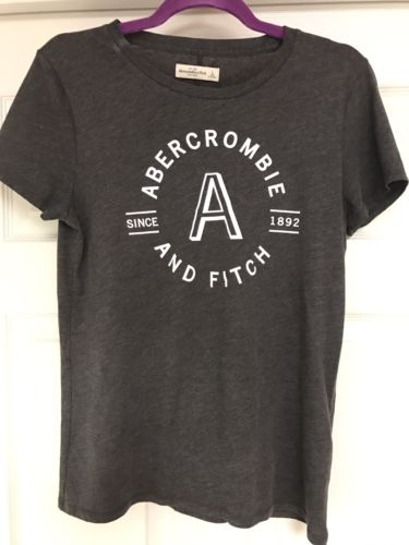ABERCROMBIE & FITCH GRAY WOMENS T-SHIRT LARGE EUC