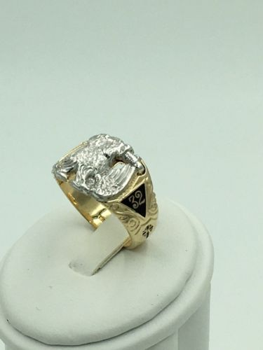 10K Gold & Platinum Masonic Diamond Ring 32nd Degree Mason