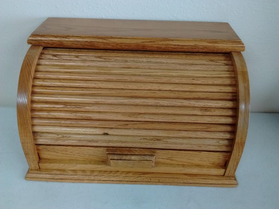 Solid Oak Roll Top Bread Box