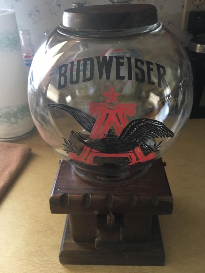 Vintage BUDWEISER Beer Pub Advertisement Glass Peanut Gumball Dispenser Machine