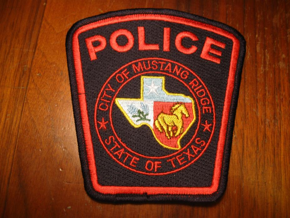 MUSTANG RIDGE TEXAS POLICE PATCH (STATE SHAPE SILOUETTE AND HORSE IN MIDDLE)