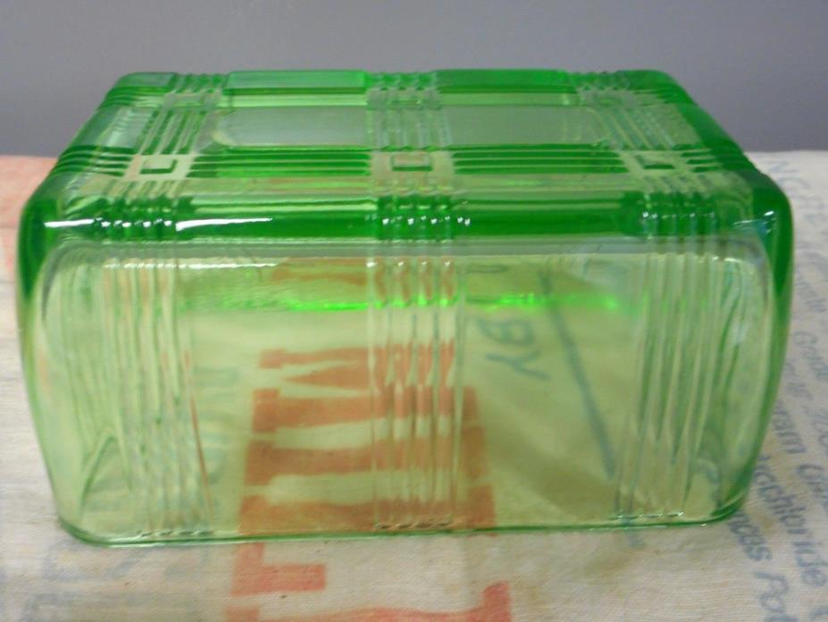 Vintage Vaseline Green Glass Butter Dish Lid TOP ONLY Criss Cross Pattern