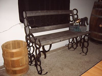 ANTIQUE RUSTIC VINTAGE COUNTRY MOTIF / DECOR:  WINDOW / PATIO BENCH W/ FOUNTAIN
