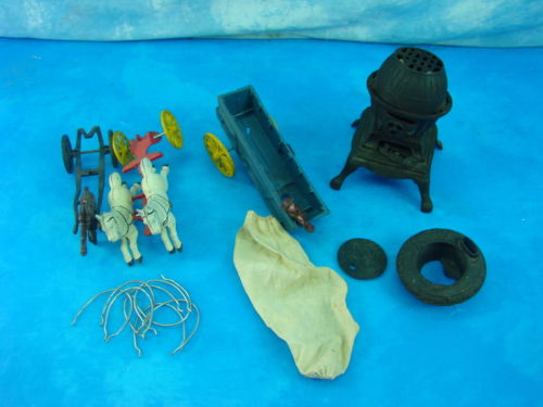 Vintage Antique Cast Iron Toy Horse Wagon Buggy Wood Burning Stove Parts Repair