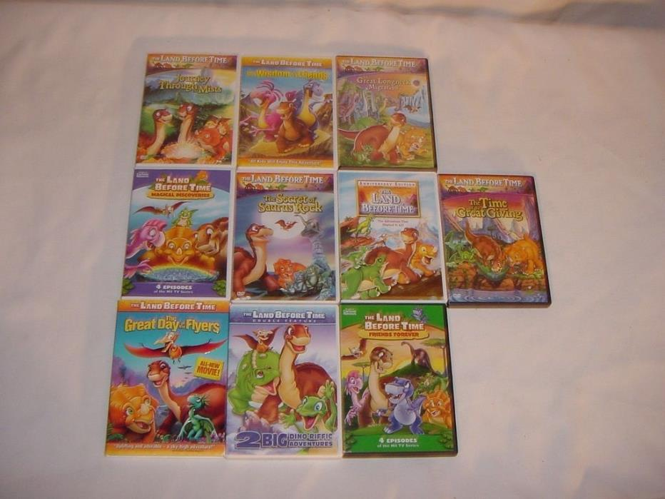 10 LAND BEFORE TIME CHILDRENS KIDS DVD DVD'S LOT