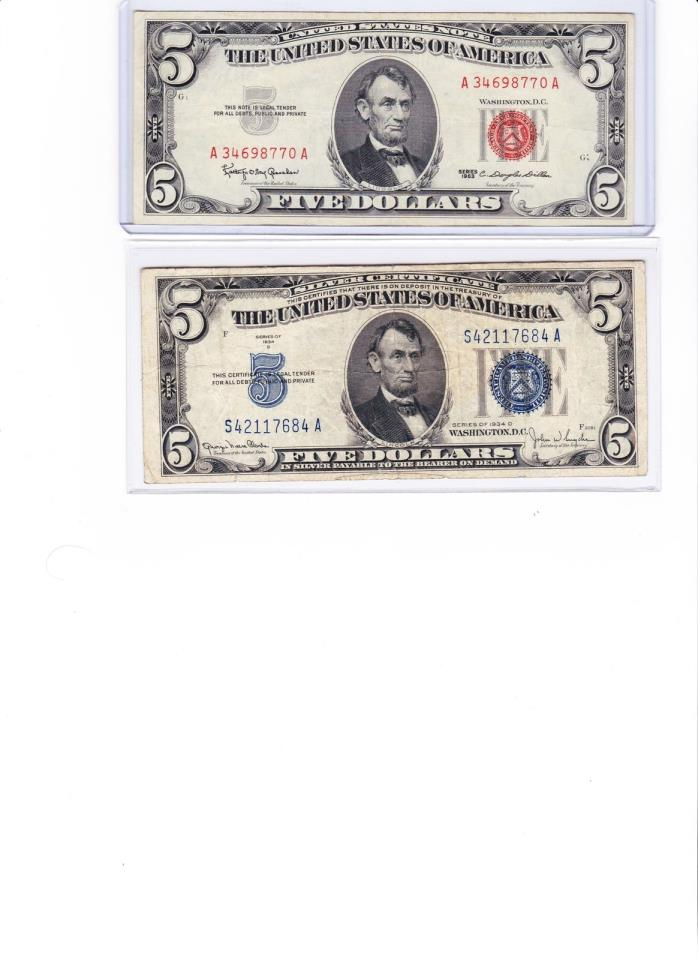 1963 $5 US red seal note & 1953 $5 Silver Certificate Lot of 2 (u get all