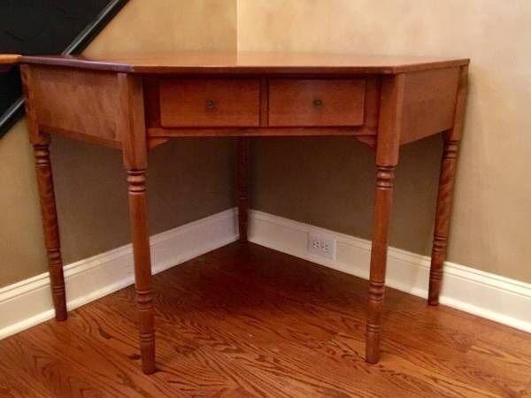 Vintage Ethan Allen Maple 1 Drawer Corner Desk Vanity