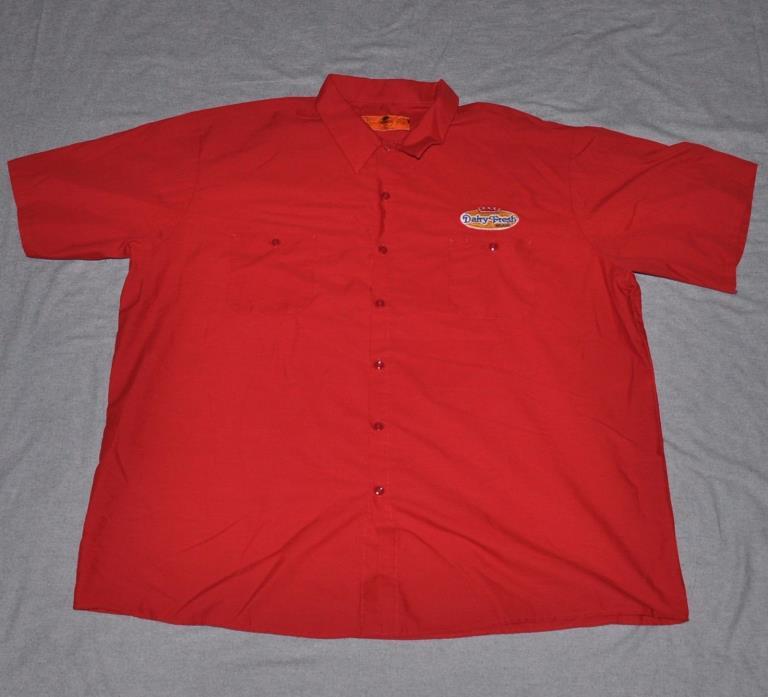 DAIRY FRESH Milkman Delivery Work Shirt Red MEN'S 4XL Button SS Milk Red Kap vtg
