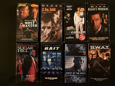 Old School Action VHS Movie Lot, 8 Great Action Movies! SWAT, Sugar Hill, BAIT!!