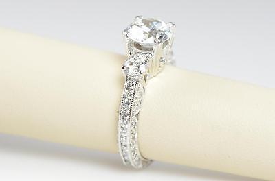 TACORI CRESCENT PLATINUM 3 STONE DIAMOND SEMI MOUNTING ENGAGEMENT RING
