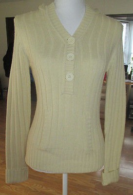 Rue21 Womens Off White Yellow Sweater 3 Buttons  Hoody Jacket size M