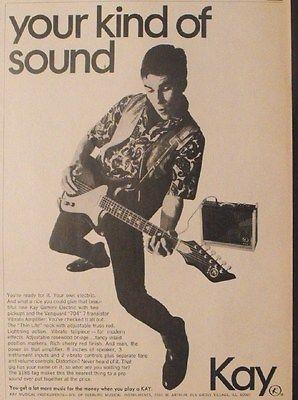 1966 Kay Gemini Electric Guitars~Vanguard Vibrato Amplifiers Memorabilia Art AD
