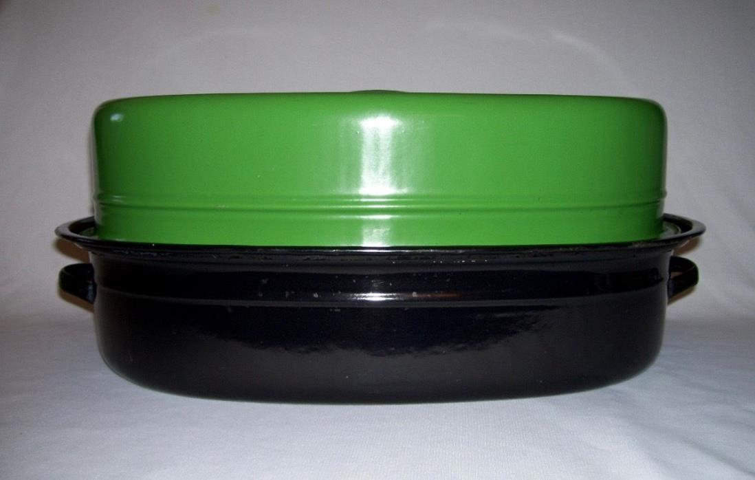 Interesting Vintage GREEN & BLACK ENAMELWARE Oval 17.5