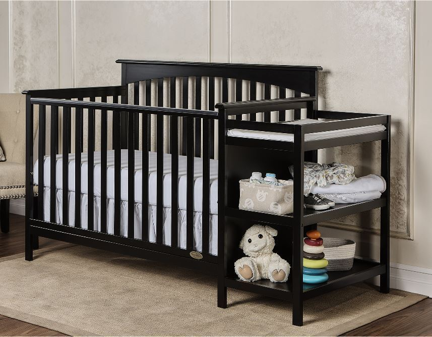 Baby Crib with Changing Table Nursery Furniture Toddler Bed Black with Mattress