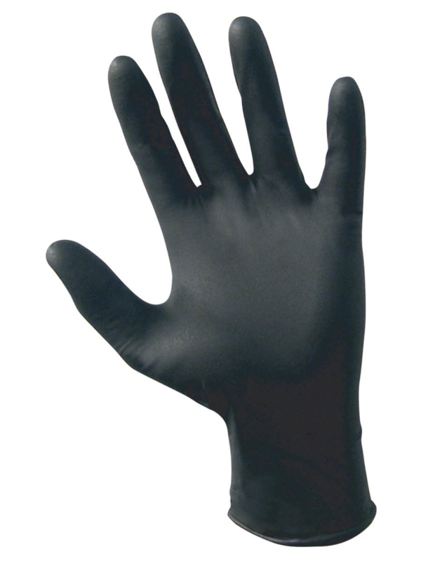 SAS Safety 66518 Raven Powder-Free Disposable Black Nitrile 6 Mil Gloves, Large,