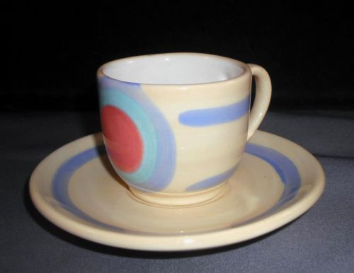 GAIL PITTMAN cup saucer Demitasse Expresso Signed 2004