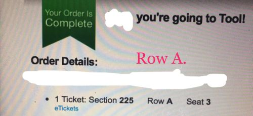 Tool Ticket Pittsburgh, PA Sec 225 Row A Peterson Events Center June 5, 2017