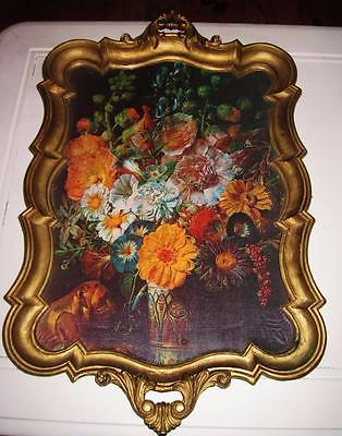 Vintage Large Handled Tray w/ Floral Still-Life~ITALY~Heavy Plastic~Beautiful