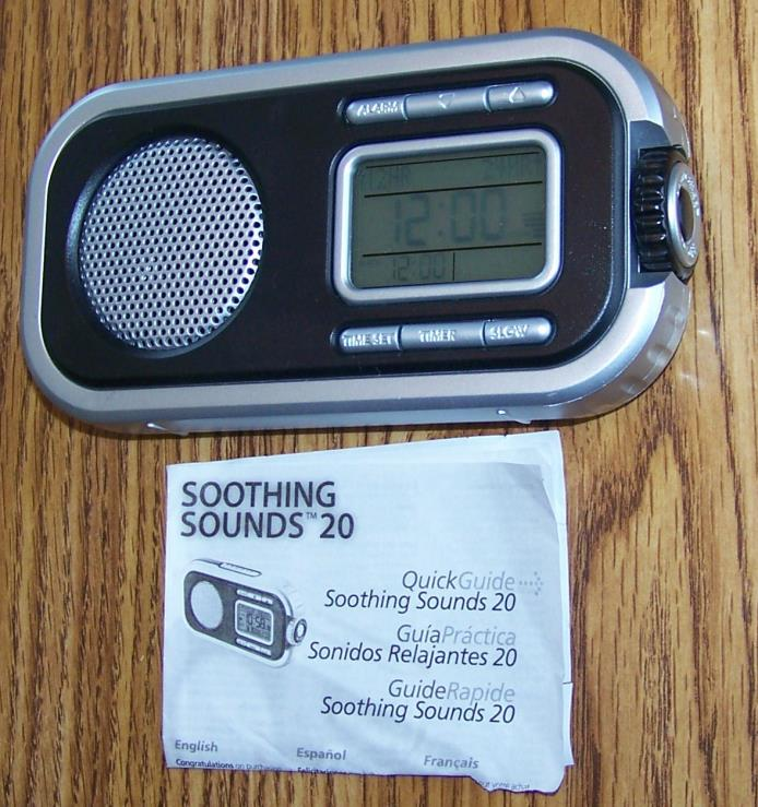 Soothing Sounds 20 Portable Travel Alarm Clock Timer - Sound Sleep Therapy