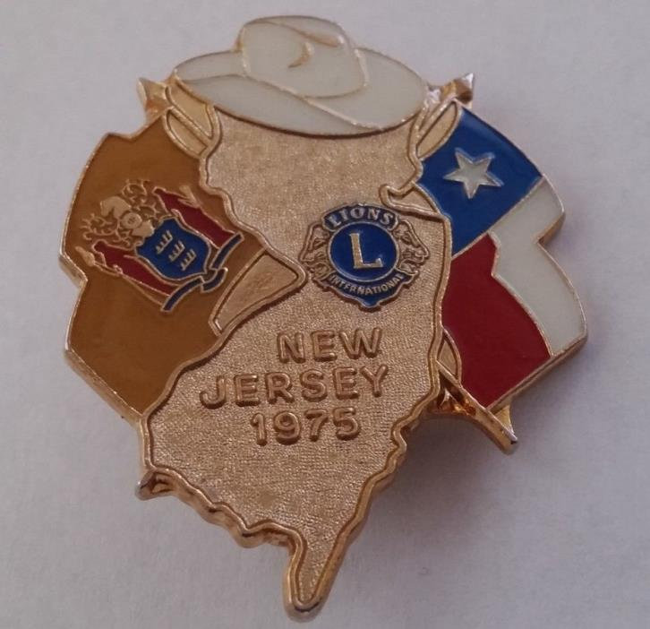 Vintage Lions International  New Jersey 1975 Lapel Hat Vest Pin