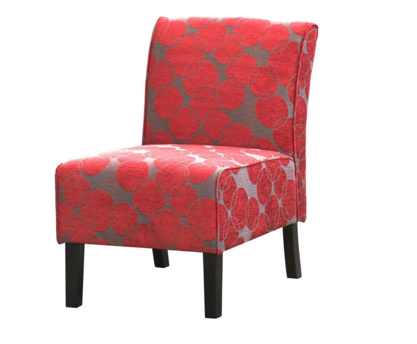 Red Accent Chairs for Living Room Small Dots Fabric Armless Furniture Home