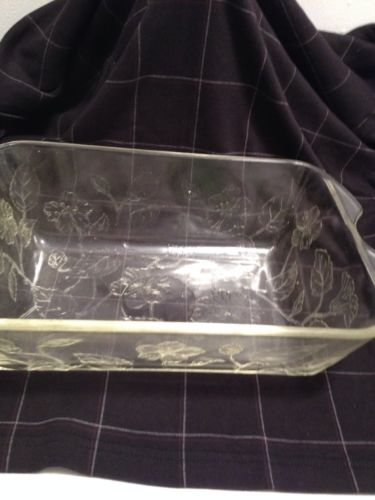 Vtg. Lg. Glass Deep Dish Casserole Pan With Flowers