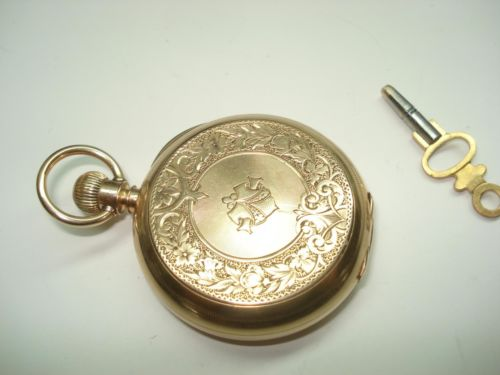18 Kt Gold Huntcase 1898 Waltham Bartlett Pocket Watch Key Wind Key Set  35grams