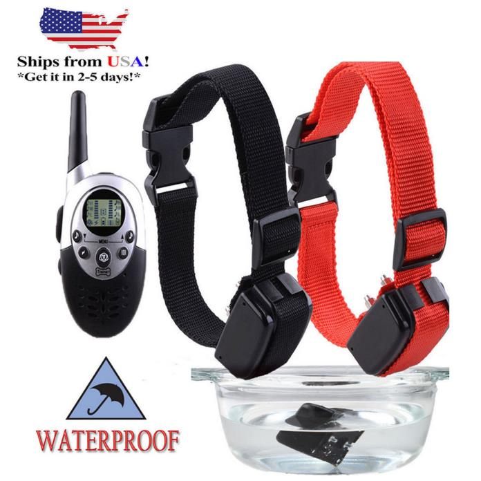 Pet Dog 2 Training Collar Rechargeable Electric LCD 100LV Shock (Two Collars) US