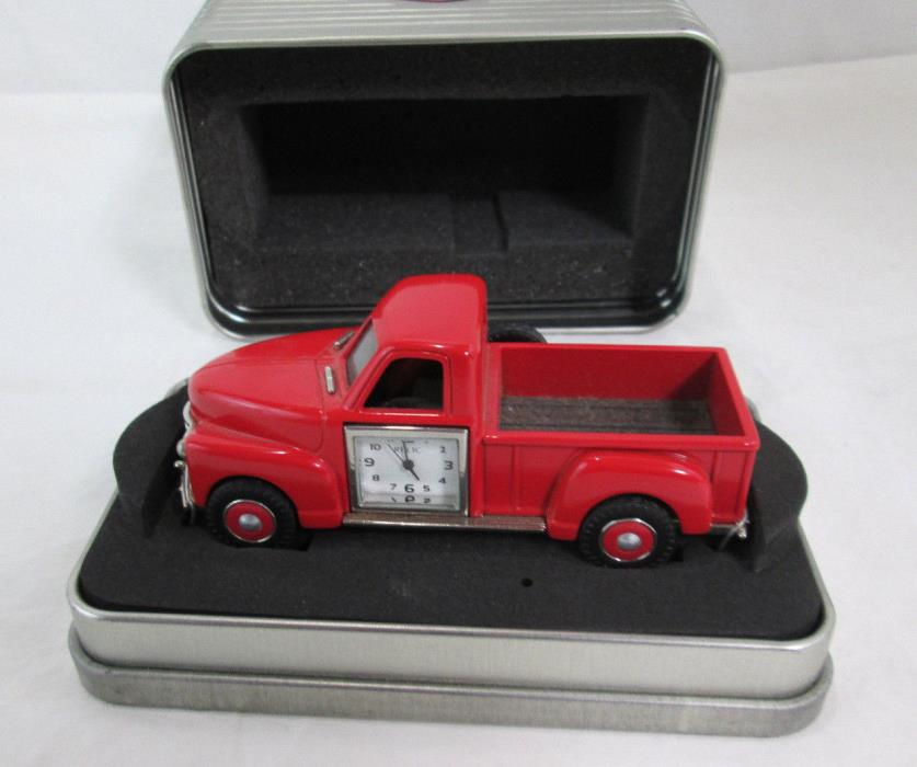 Relic Pickup Truck Clock in Industrial Designed Box Red Truck