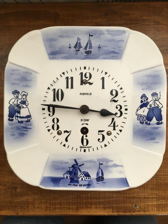 German 8 Day Ceramic/Porcelain Wall Clock KIENZLE