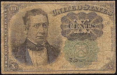 10 CENT FRACTIONAL CURRENCY GREEN SEAL MEREDITH NOTE UNITED STATES PAPER MONEY