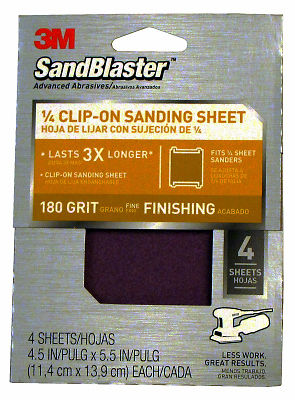 3M 9662 Sandblaster 1/4 Sheet Clip-On Sandpaper-180G 1/4SHT SANDNG SHEET