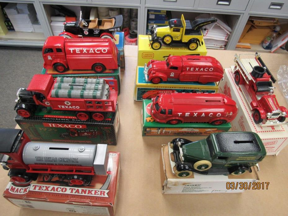 MIXED LOT OF 9 TEXACO ERTL TRUCKS AND CARS (9492-CLOSET-OY)
