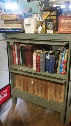 Vintage Globe Wernicke Metal Glass Barrister  Shelf Bookcase Cabinet complete
