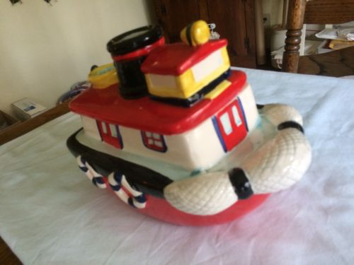 Vintage Ceramic Tug Boat Cookie Jar by AMC NY NY Taiwain Classic Collectable