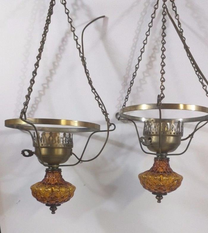 Vintage Pair Amber Glass Brass Hanging 3 Chain Ceiling Hurricane Lamp Electric